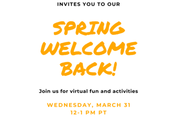 "Flyer that reads ""the program on Urban Studies invites you to our Spring Welcome Back! Join us for virtual fun and activities Wednesday, March 31, 12-1PM PT. Zoom link provided"""